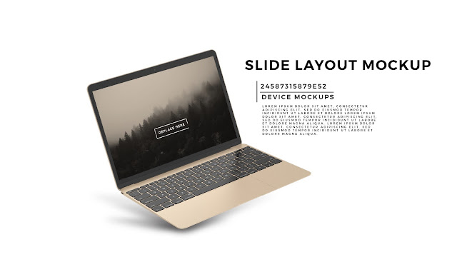 Perspective Macbook Screen Mockup PowerPoint Template