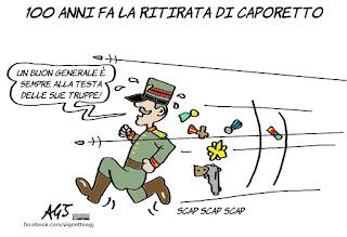 caporetto, battaglie, disastri, cadorna, ufficiali italiani, prima guerra mondiale, vignetta, satira
