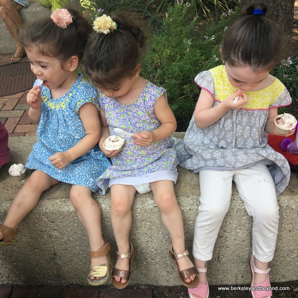 twins and older sister eat ice cream at Lick in the Pearl in San Antonio, Texas