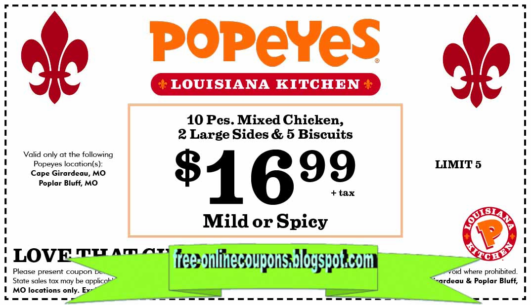 $ Rip'n Chick'n, Reg Fries, Biscuit & More At Popeyes. Offer available only at participating locations. Popeyes Louisiana Kitchen shows off its New Orleans heritage with authentic spicy & mild fried chicken, chicken tenders, seafood and signature sides.