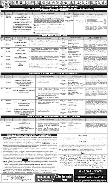 Jobs in PPSC 2018 Punjab Public Service Commission Jobs in Pakistan