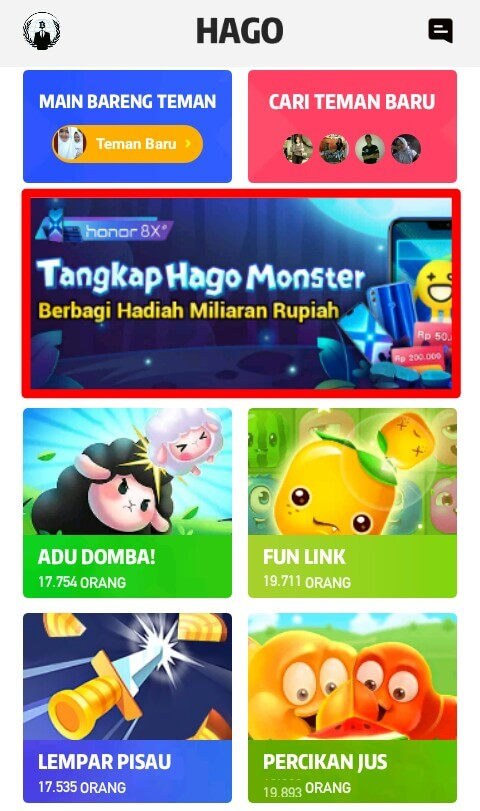 """Untuk memperoleh Pulsa, Smartphone Honor 8x, dan Voucher gratis adalah dengan cara menekan banner yang bertuliskan """"Tangkap Hago Monster..."""" dan pilih """"Mulai""""."""