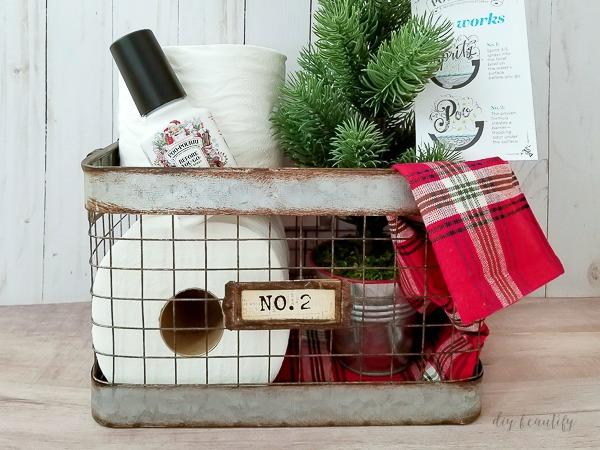 festive guest basket with Poo~Pourri® spray