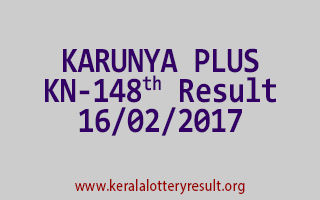 KARUNYA PLUS KN 148 Lottery Results 16-02-2017