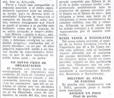 Crónica de Francisco J. Pérez en El Noticiero Universal sobre el III Torneo Nacional de Ajedrez de La Pobla de Lillet 1957 (2)