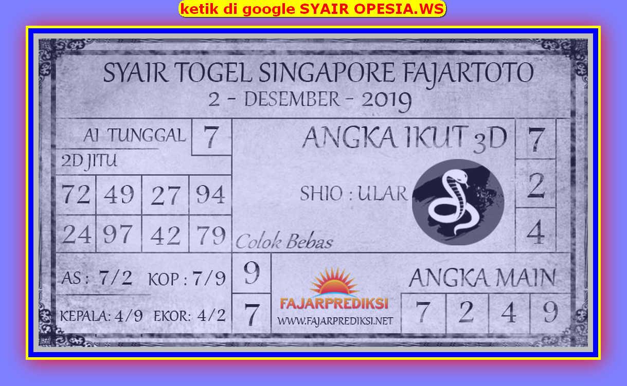 Kode syair Singapore Senin 2 Desember 2019 89