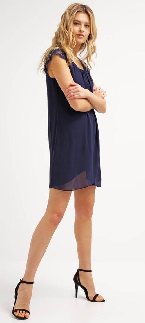 Robe courte d'été fluide bleu marine Naf Naf