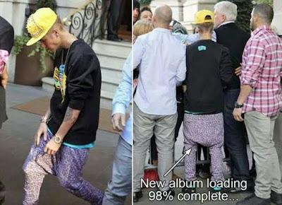 Peinlicher Justin Bieber in lustiger Hose