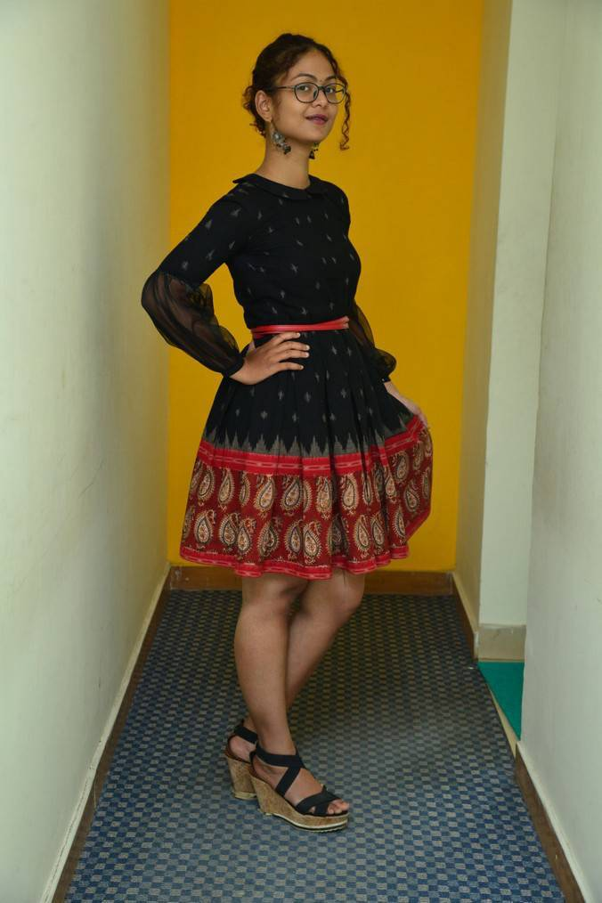 Beautiful Hyderabadi Girl Aditi Myakal Photo Shoot In Mini Black Skirt