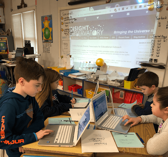 5th-grade students submitting their image requests on Insight Observatory's   Educational Image Request (EIR) form. Photo by Mrs Cavicchi.