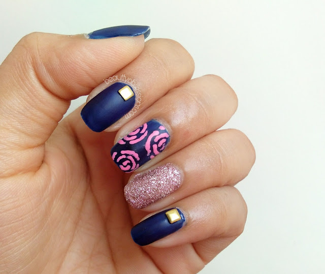 Pink Roses on my Nails - Step by Step Tutorial..
