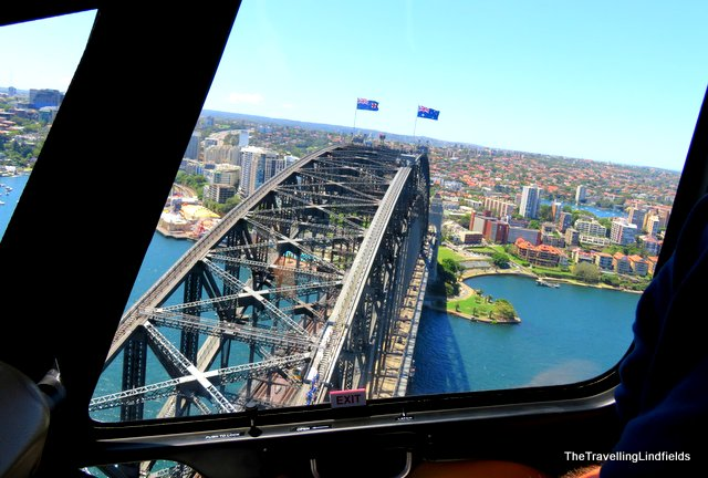 View of Sydney Harbour Bridge from helicopter