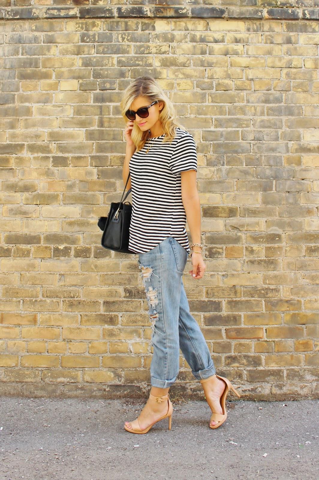 bijuleni, stripe top and distressed jeans