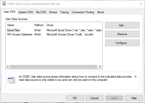 HSQL ODBC DRIVER FOR WINDOWS 10