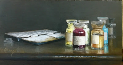 bottles, palette, colors, paints