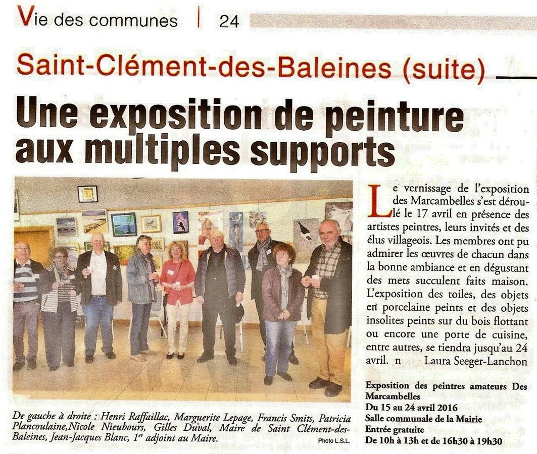 Les marcambelles expositions photos articles de presse - Office du tourisme saint clement des baleines ...