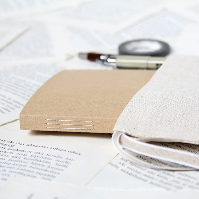 long stitch notebooks with dotted grid pages and drawstring linen bags - paperiaarre.com