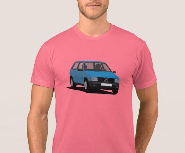 Sininen Fiat Uno t-paita - autopaidat