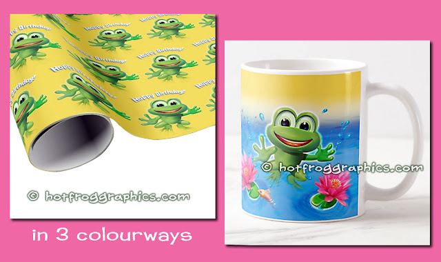 Birthday giftwrap and ceramic mug from Leaping Frog range by Hot Frog Graphics