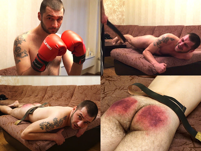 RusStraightGuys - Boxer Ivan 24 y.o. Spanking by heavy army belt