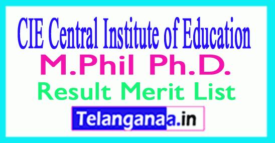 CIE DU M.Phil / Ph.D. Entrance Result