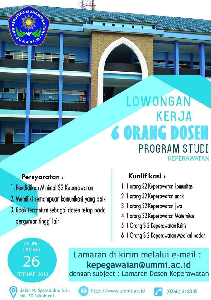 Lowongan 6 Orang Dosen Prodi Keperawatan Universitas Muhammadiyah Sukabumi (UMMI)