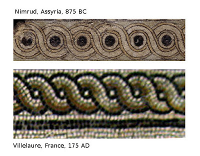 Guilloche Decorative patterns from an Assyrian Royal Palace and a Gallo Roman Villa from Southern France
