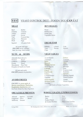 Yeast control diet - food you must avoid