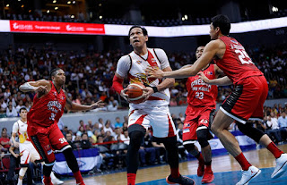 June Mar Fajardo guarded by Ginebra team