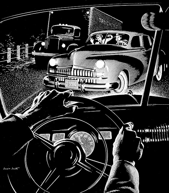 Irwin Smith scratchboard illustration of car accident at night