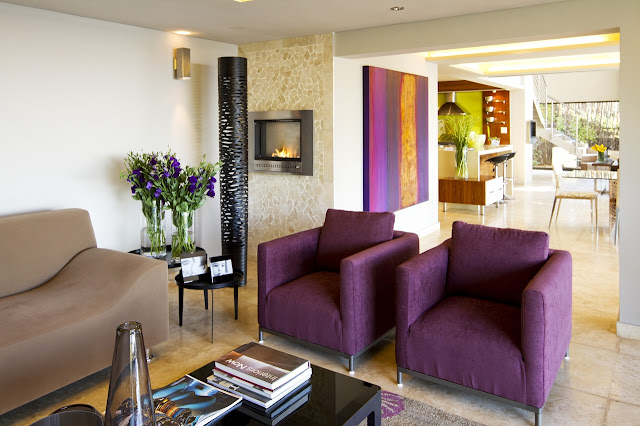 Purple chairs in the living room