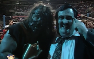 WWF / WWE SUMMERSLAM 1996 - Paul Bearer turned heel on Undertaker and joined forces with Mankind