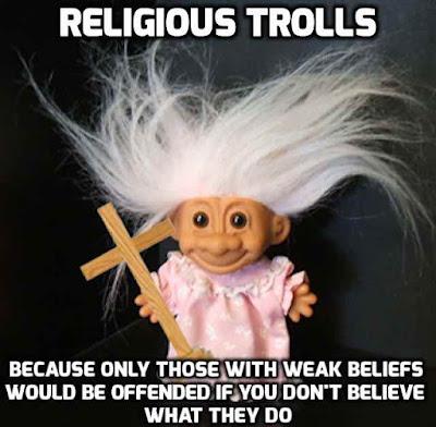 religious trolls have weak beliefs