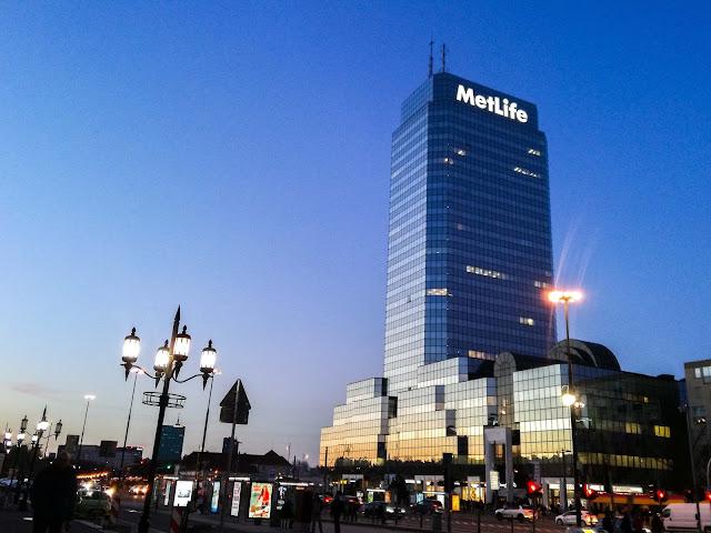 Plac Bankowy, Warszawa, zachód słońca