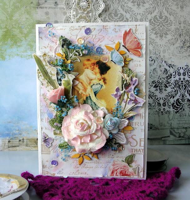 Скрап открытки и бисера