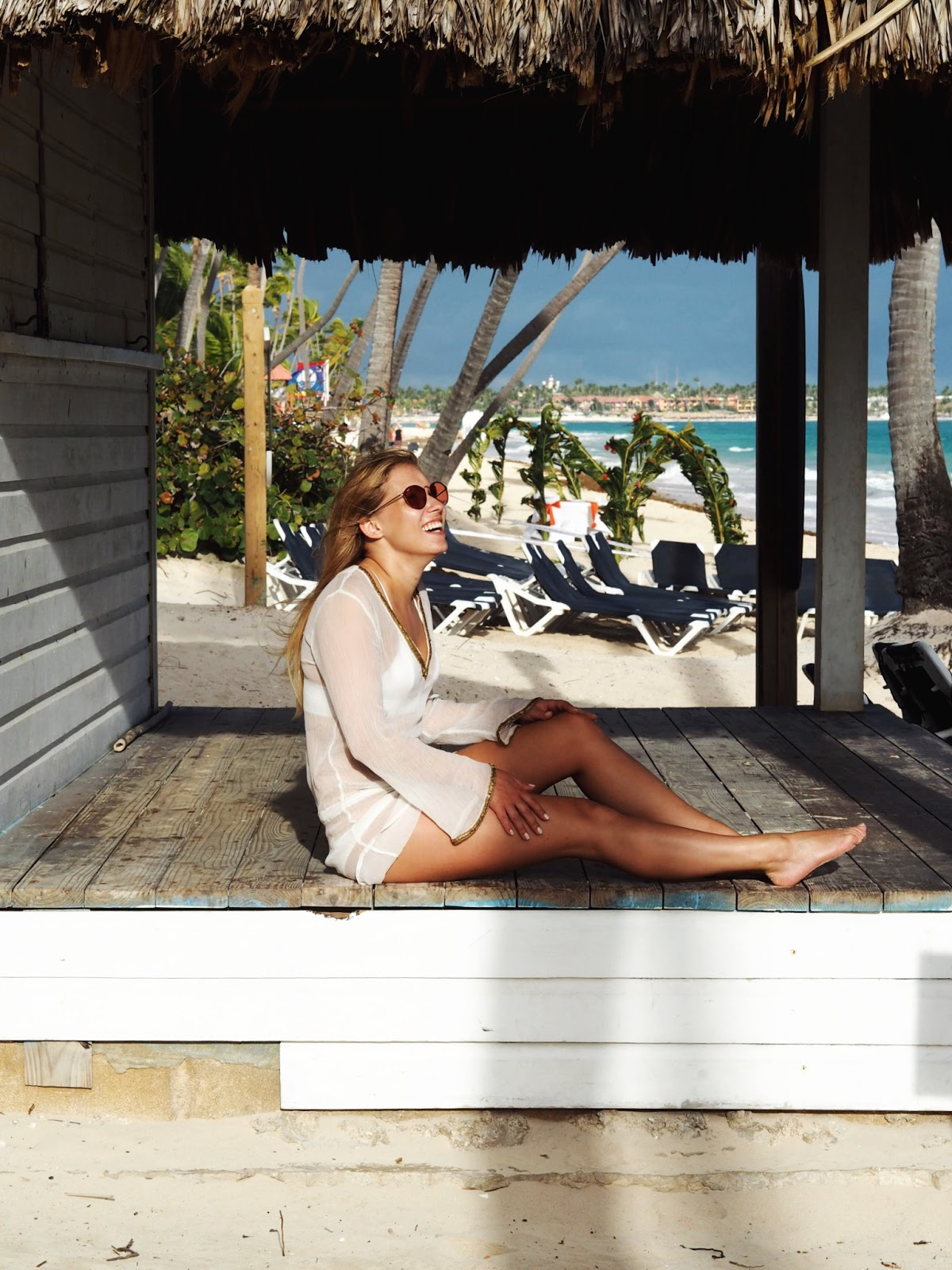 Miss Tunica Perissa Crystal White Tunic Beach Hut Palm Roof