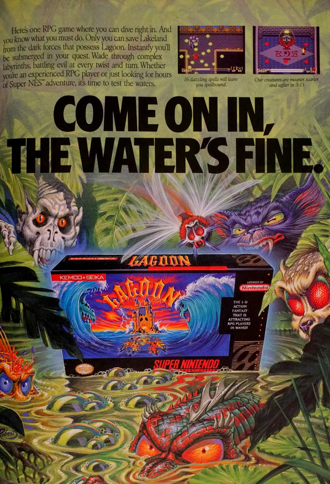 Lagoon for SNES advertisement