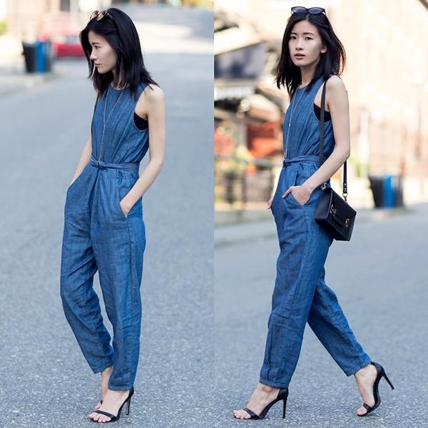Thời trang jumpsuit jean dài phong cách