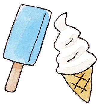 アイスキャンディーとソフトクリームのイラスト