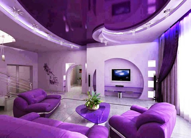 stretch ceiling designs, modern purple living room