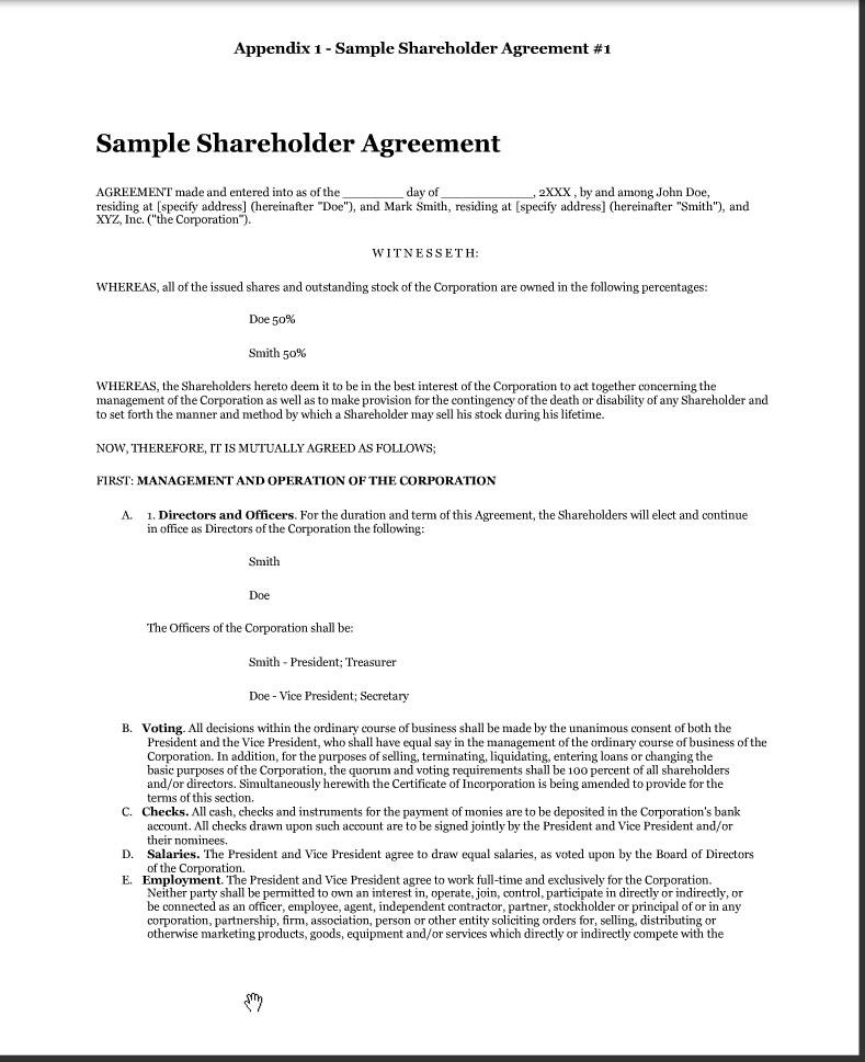 Premium legal documents - download free samples Sample - shareholder agreement
