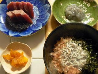 夕食の献立 献立レシピ 飽きない献立 生のシラスで丼とお刺身セット