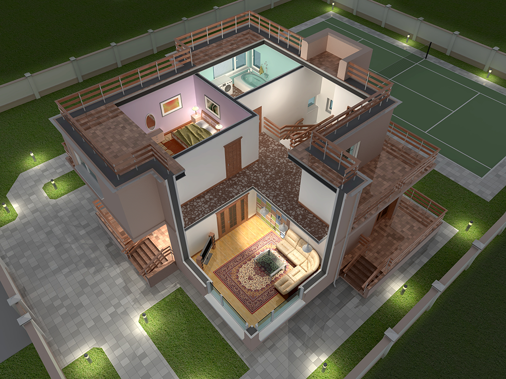 BEDROOM HOUSE PLAN WITH TOTAL FLOOR AREA OF 80 SQUARE METERS