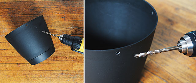 Drill holes in a plastic planter to hang plants
