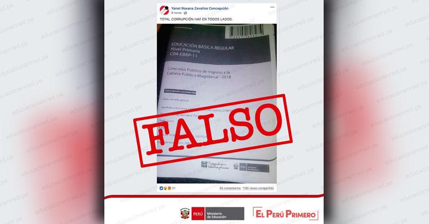 MINEDU alerta que cuadernillos de preguntas que circulan en redes sociales, no corresponden a la versión oficial de la Prueba Única Nacional para Nombramiento Docente 2018 - www.minedu.gob.pe