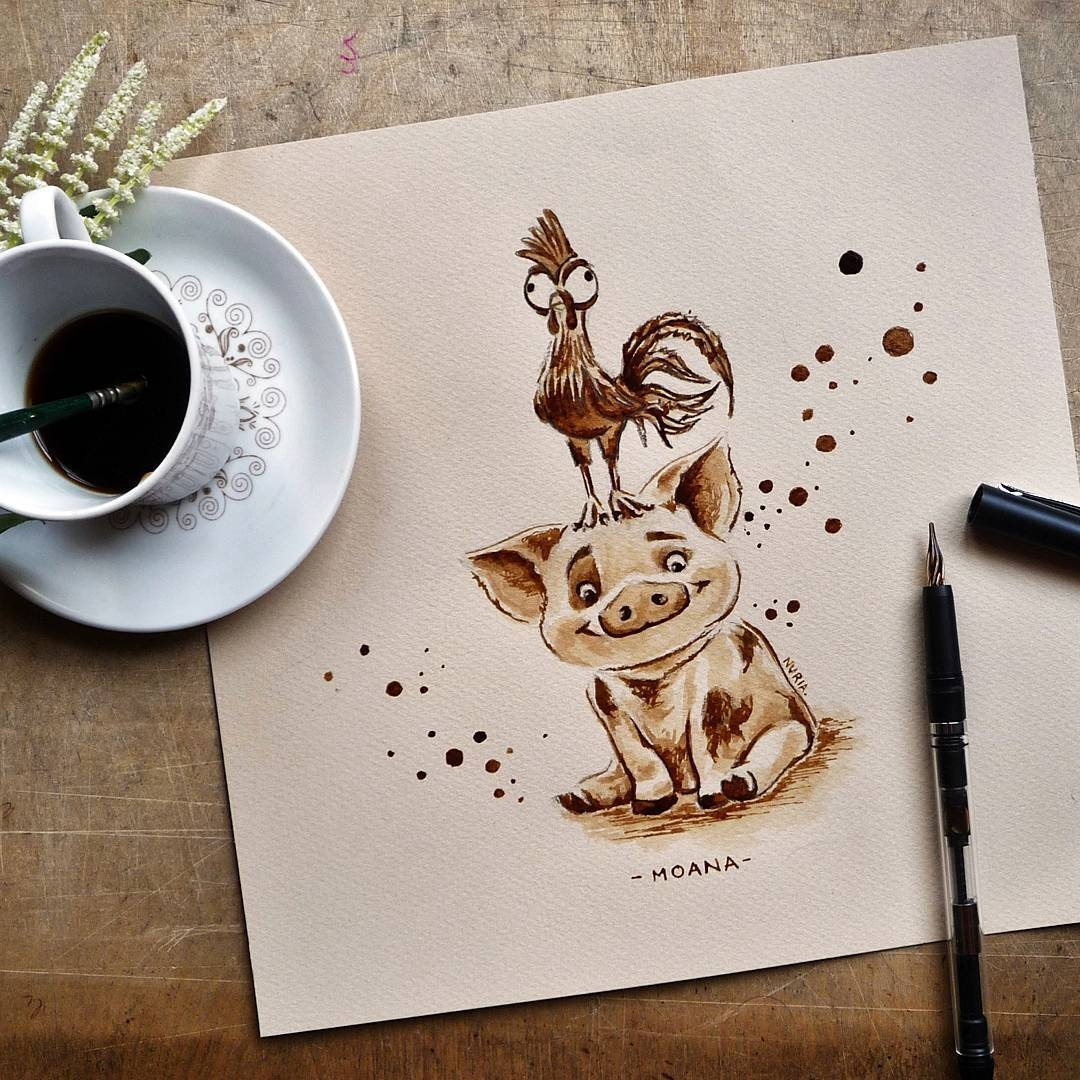 09-Moana-Hei-Hei-and-Pua-Nuria-Salcedo-nuriamarq-Celebrities-and-Animated-Movies-Painted-with-Coffee-and-Brown-Pencil-www-designstack-co