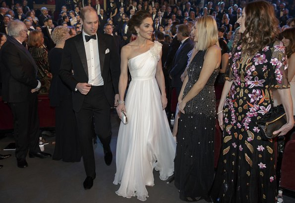 Kate Middleton wore ALEXANDER MCQUEEN One-shoulder crinkled silk-chiffon and satin gown