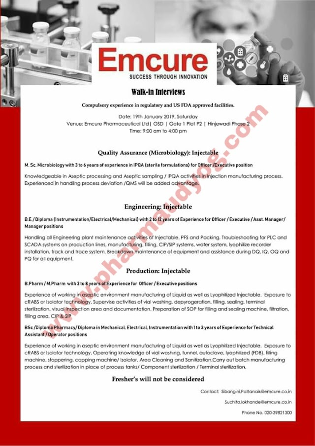 Emcure Pharmaceuticals | Walk-In for Production/QA/Engineering | 19th Jan 2019 | Pune