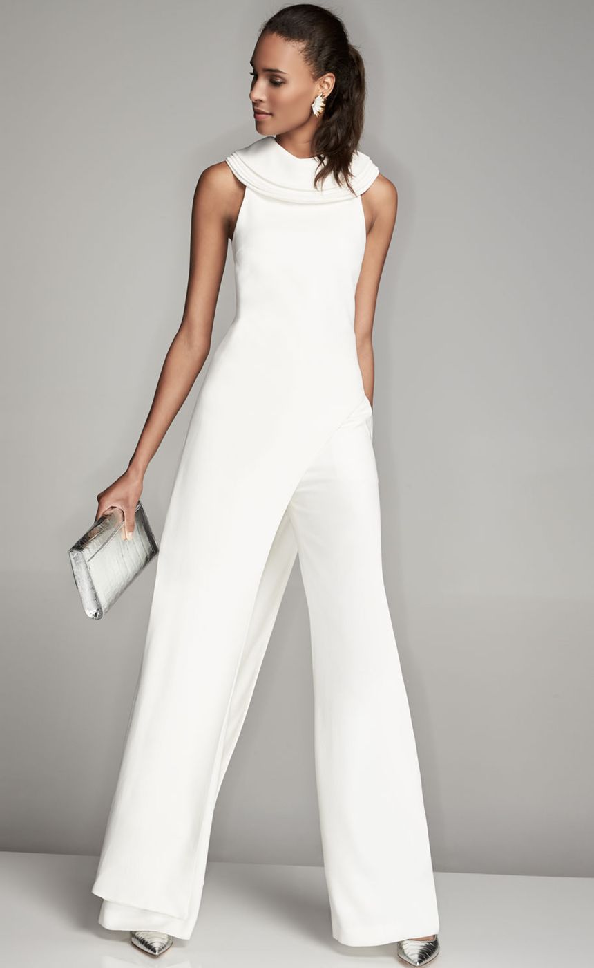 Brandon Maxwell Sleeveless Crepe Asymmetric-Hem Top, Ivory and High-Waist Crepe Wide-Leg Trousers