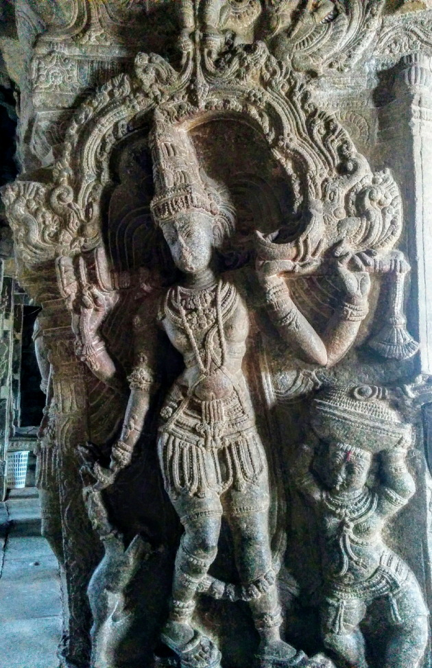 Stunning sculpture on the pillars of Veerbhadra Temple, Lepakshi near Hindupur